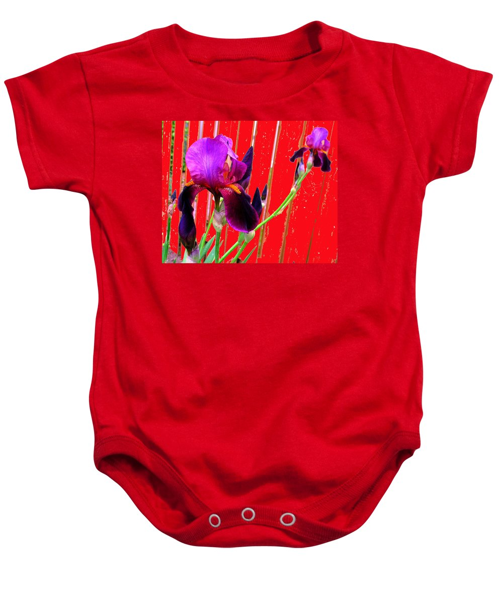 Iris Baby Onesie featuring the photograph Other Side Of The Fence by Ian MacDonald