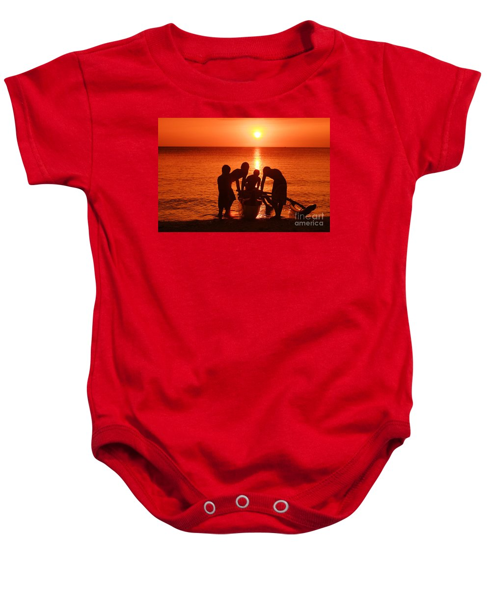Boy Baby Onesie featuring the photograph Outrigger Sunset Silhouet by Vince Cavataio - Printscapes