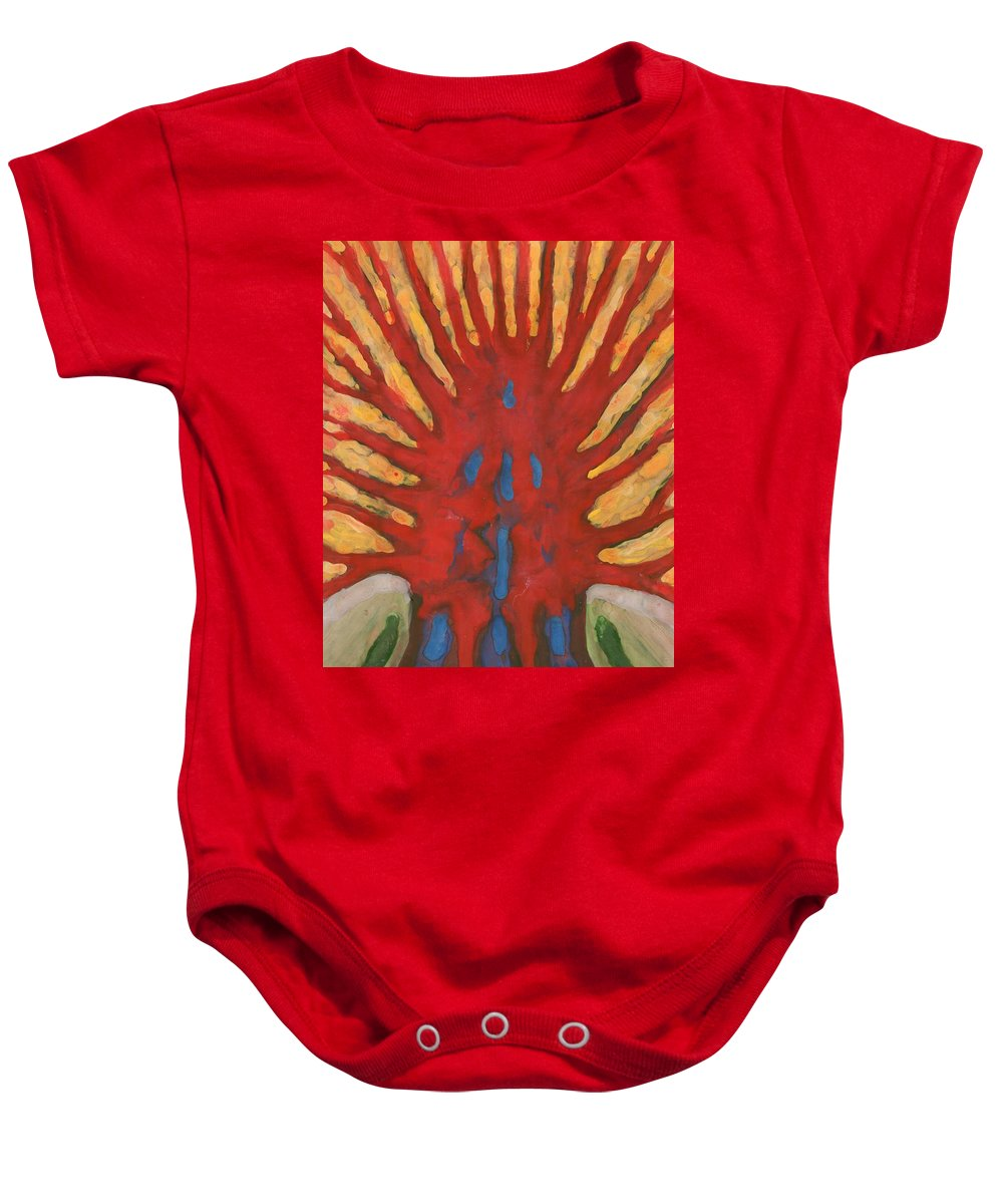 Colour Baby Onesie featuring the painting Outside by Wojtek Kowalski