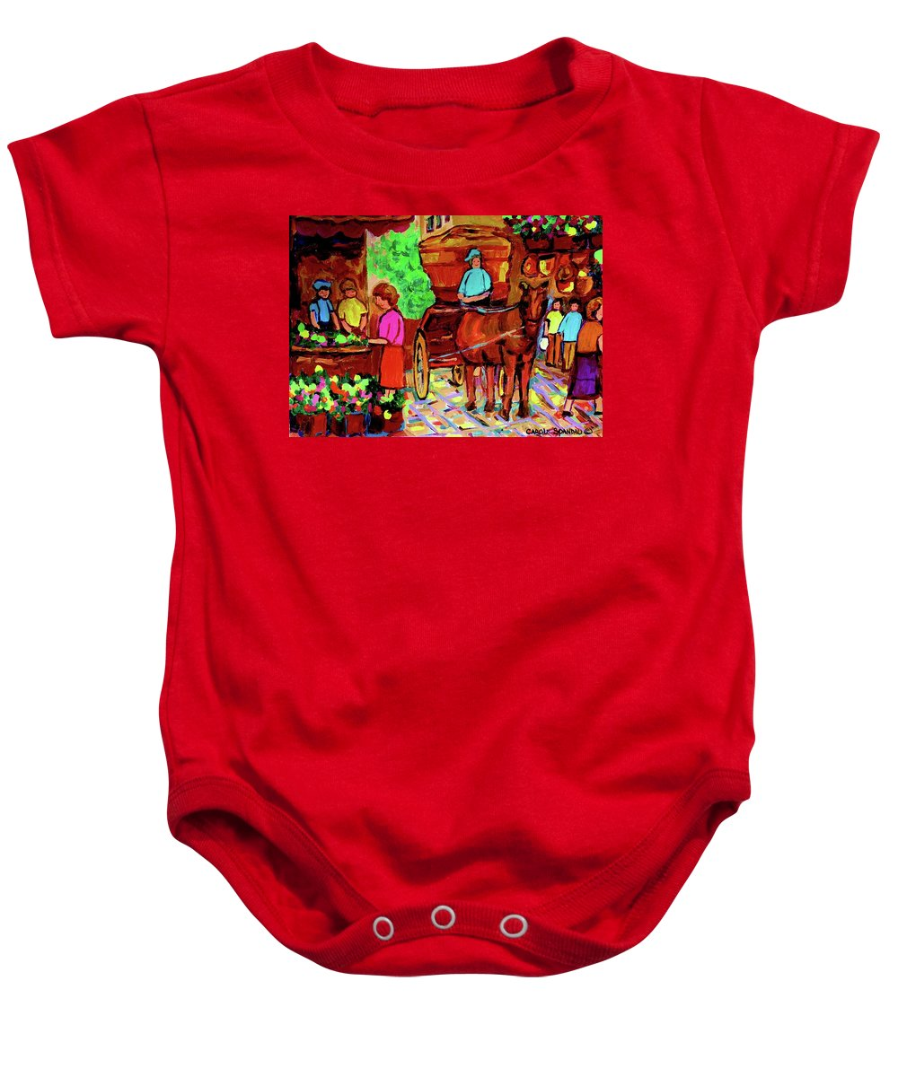 Montreal Baby Onesie featuring the painting Paintings Of Montreal Streets Old Montreal With Flower Cart And Caleche By Artist Carole Spandau by Carole Spandau
