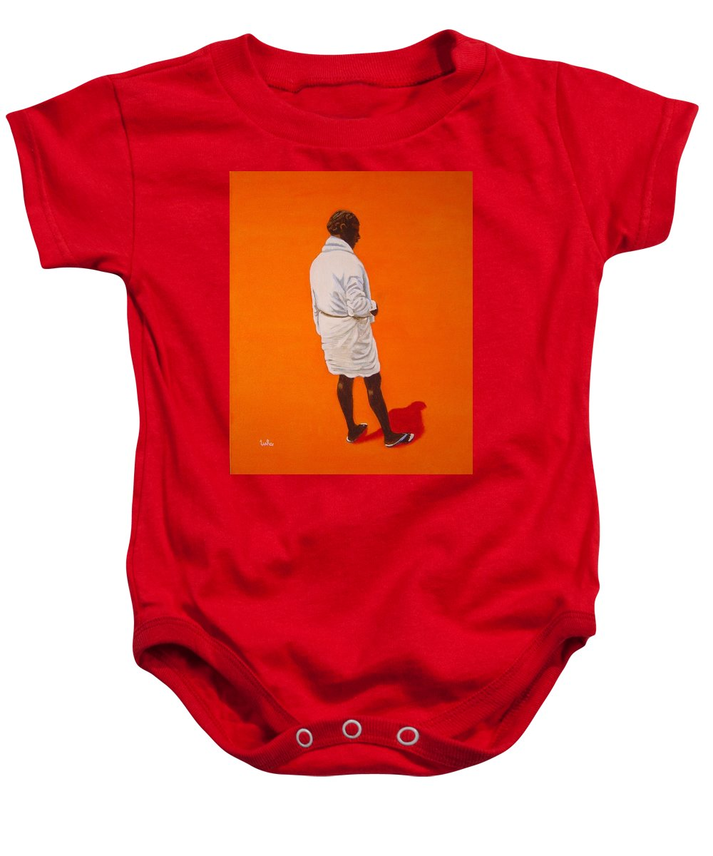 Lungi Baby Onesie featuring the painting Panche by Usha Shantharam
