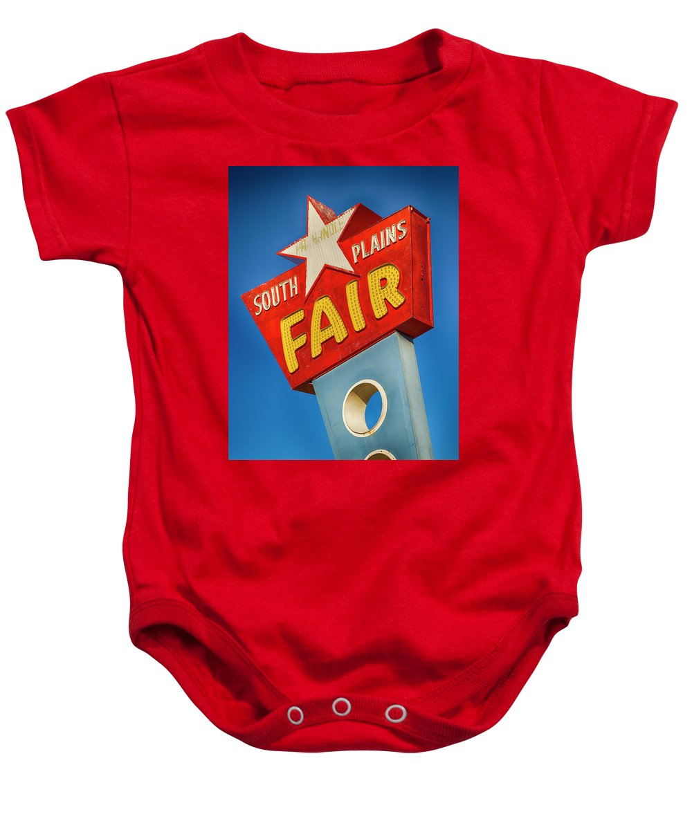 Lubbock Baby Onesie featuring the photograph Panhandle South Plains Fair Sign by Stephen Stookey