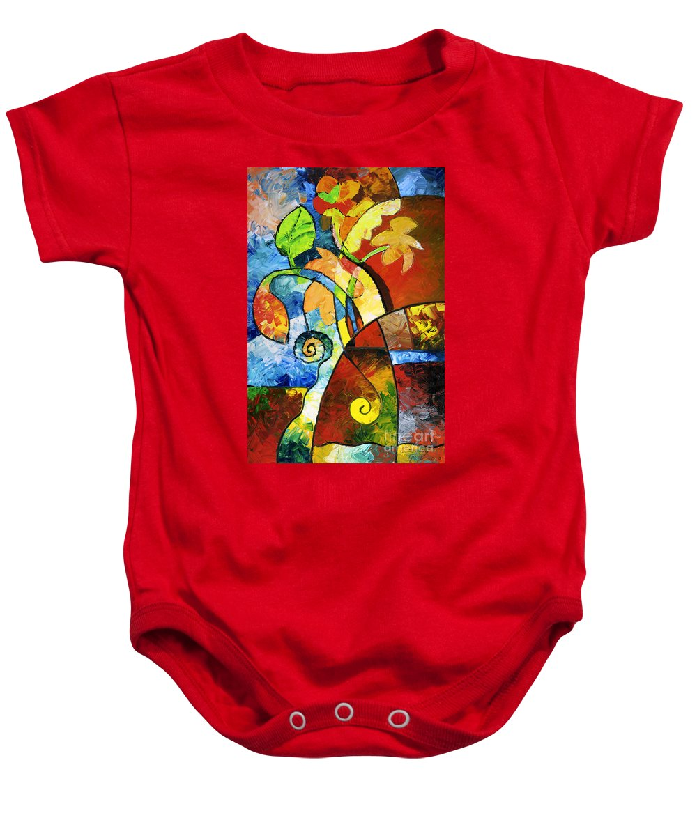 Flower Baby Onesie featuring the painting Paper Flowers by Sally Trace