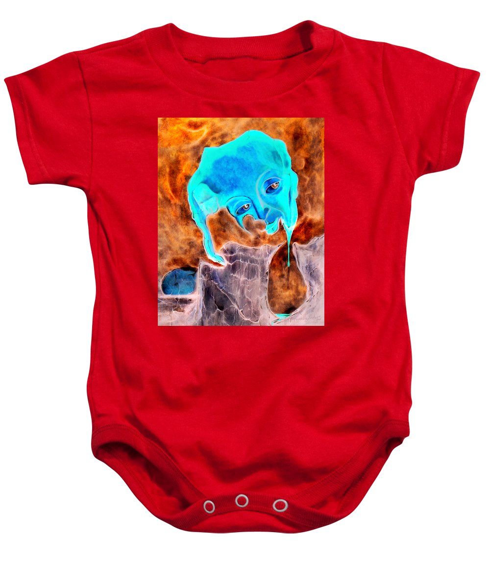 Red Blood Surrealism Color Baby Onesie featuring the painting Paris H by Veronica Jackson