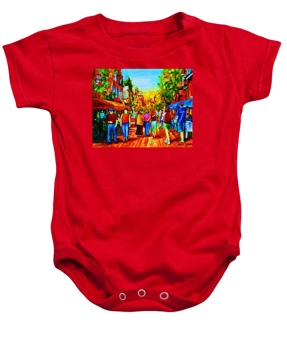 Cafe Scenes Baby Onesie featuring the painting Parisian Cafes by Carole Spandau
