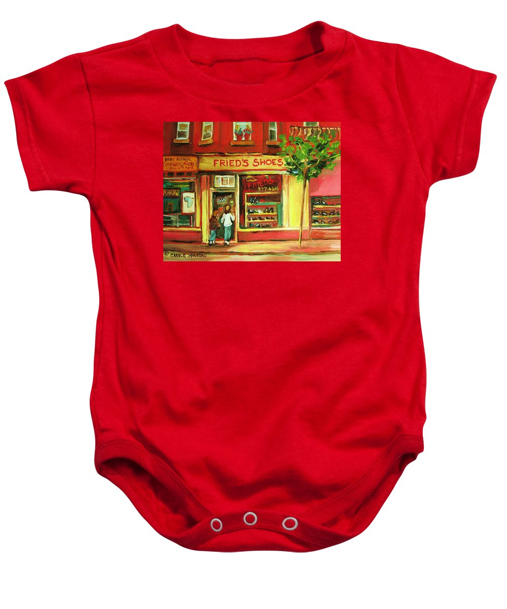 Montreal Baby Onesie featuring the painting Park Avenue Shoe Store by Carole Spandau