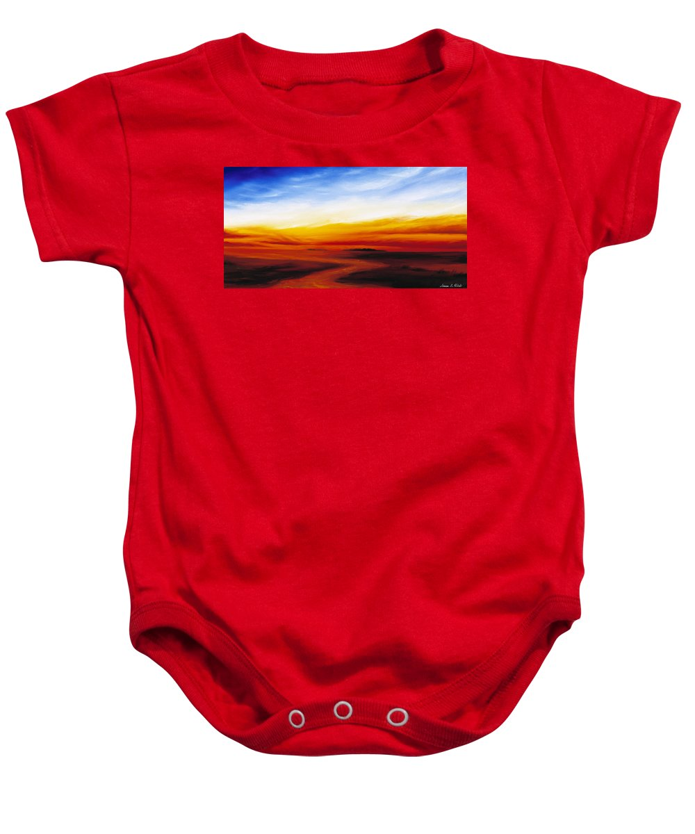 Sunrise Baby Onesie featuring the painting Path To Redemption by James Christopher Hill