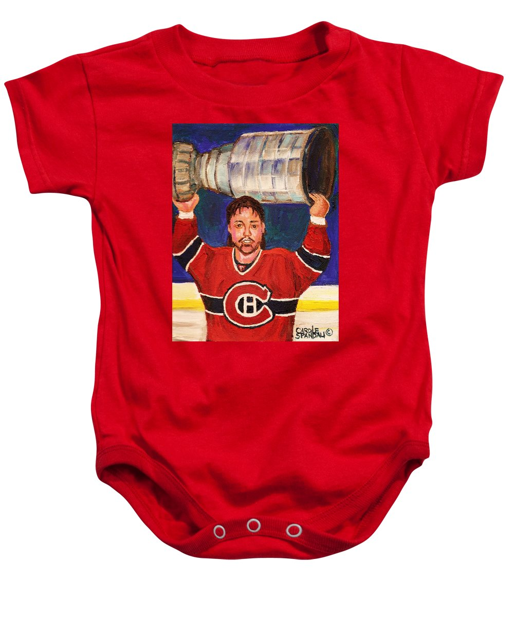 Hockey Baby Onesie featuring the painting Patrick Roy Wins The Stanley Cup by Carole Spandau