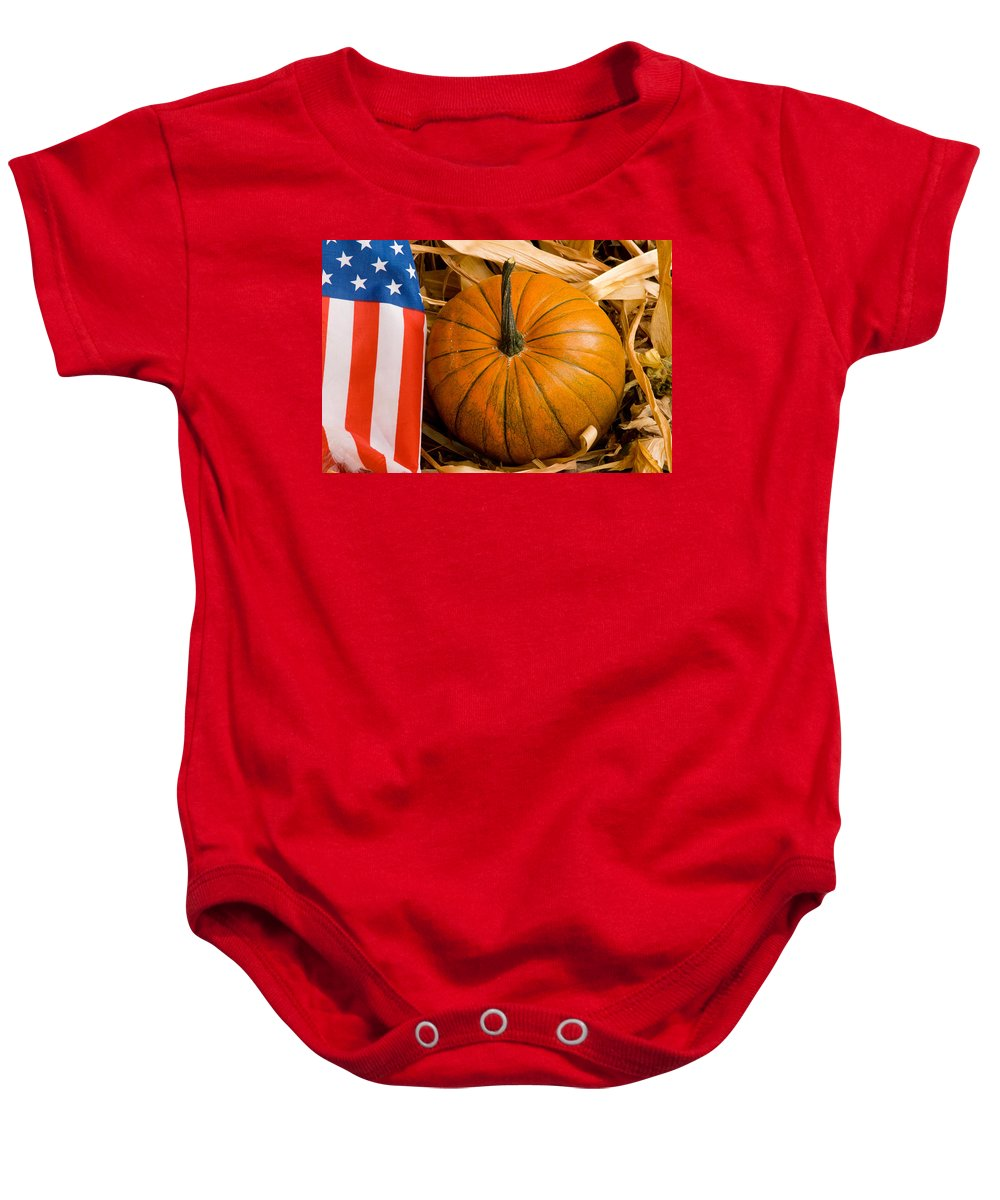 Pumpkin Baby Onesie featuring the photograph Patriotic American Pumpkin by James BO Insogna