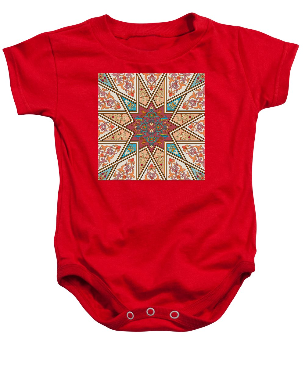 Islamic Art Baby Onesie featuring the painting Pattern Art 005 by Gull G
