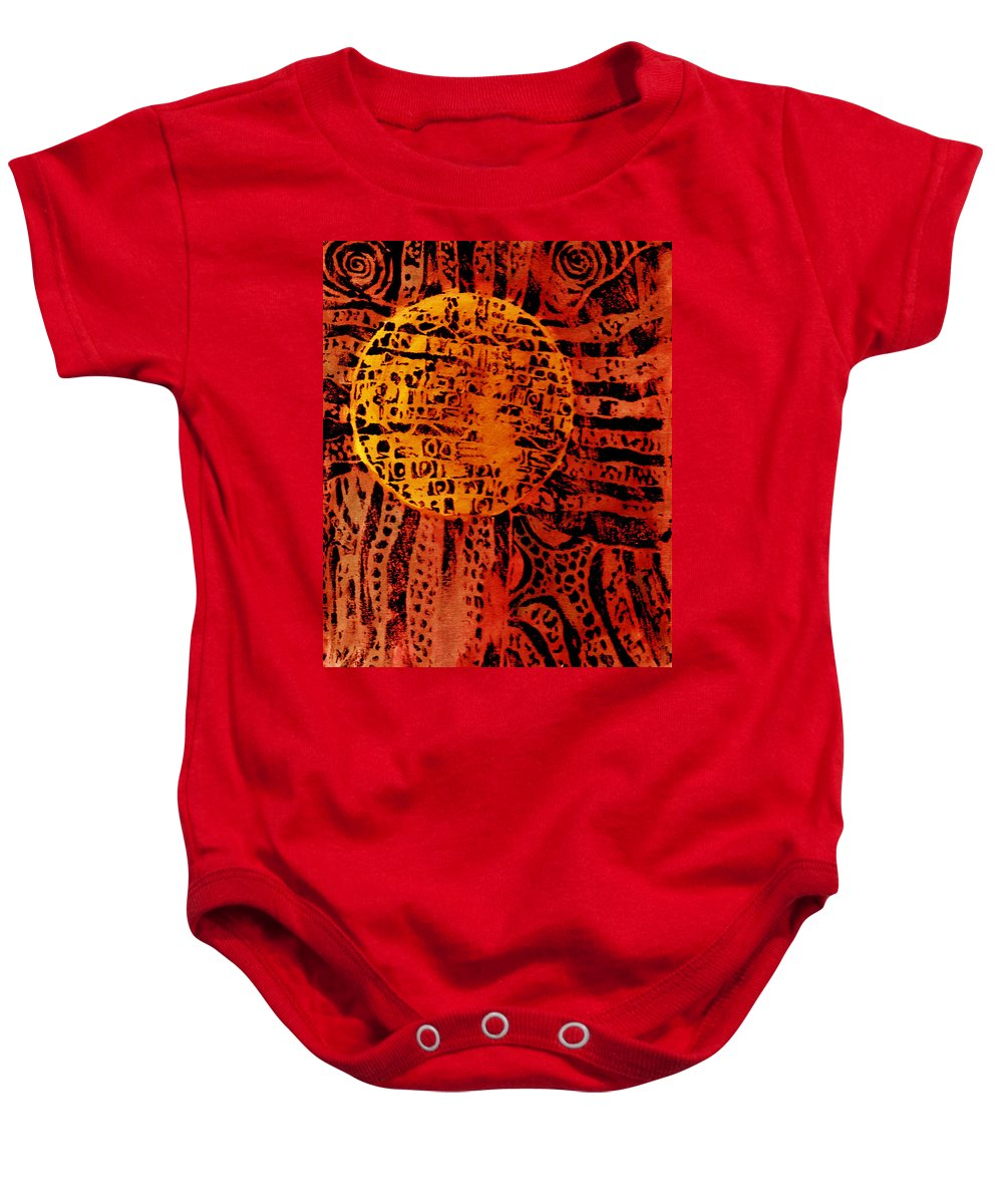 Abstract Baby Onesie featuring the painting Patterns In The Sun by Wayne Potrafka