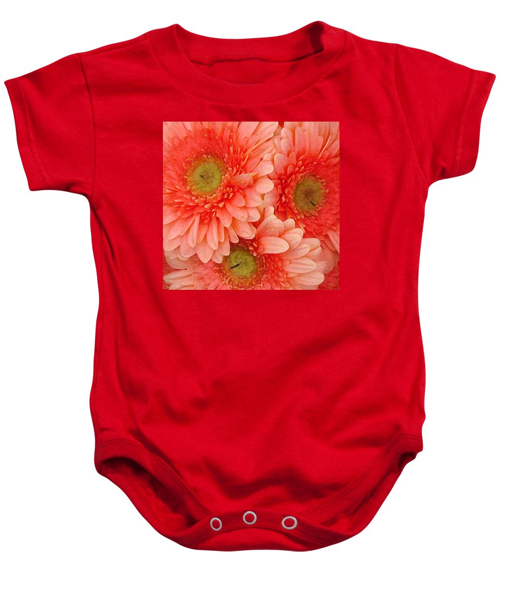 Floral Baby Onesie featuring the painting Peach Gerbers by Amy Vangsgard
