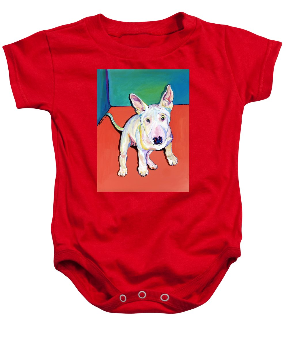 Pet Portrait Commissions Baby Onesie featuring the painting Pearl by Pat Saunders-White