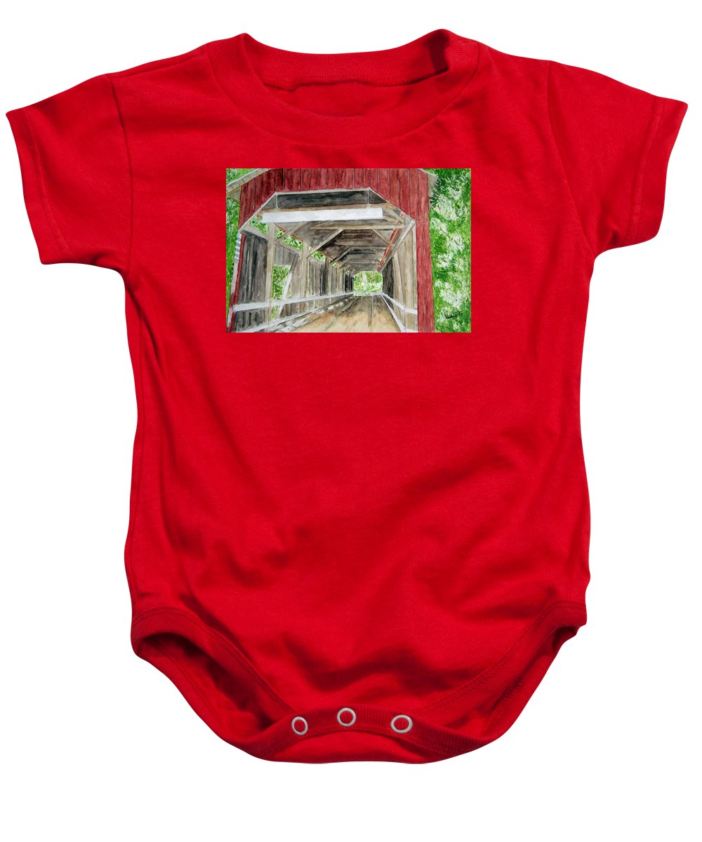 Covered Bridge Art Baby Onesie featuring the painting Pennsylvania Inside And Out by Larry Wright