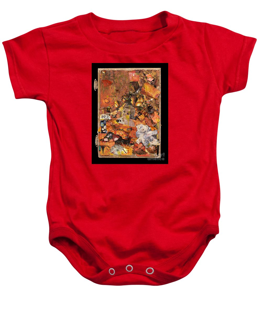 Penny Baby Onesie featuring the mixed media Penny And A Cigarette by Jaime Becker