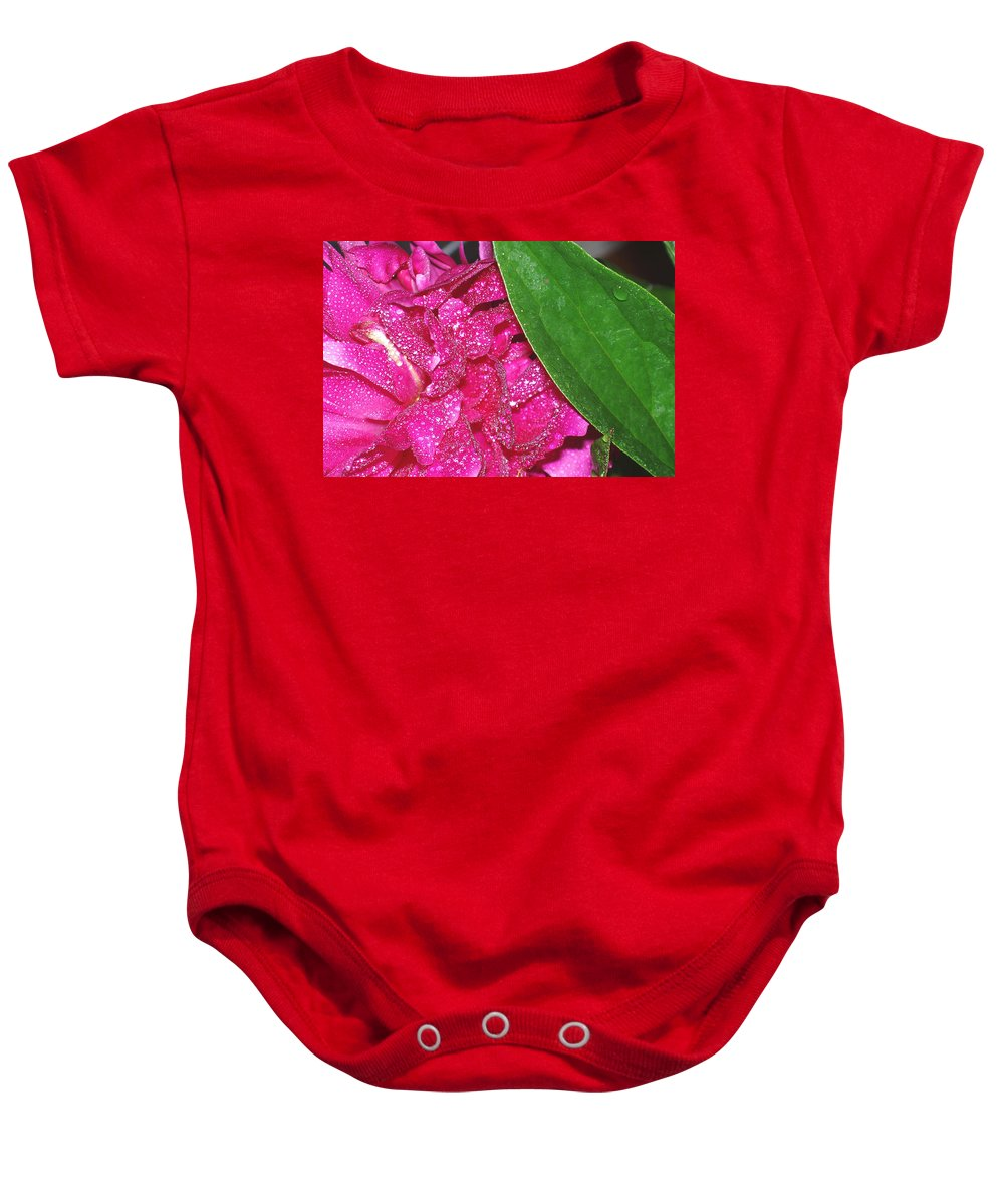 Peony Baby Onesie featuring the photograph Peony And Leaf by Nancy Mueller
