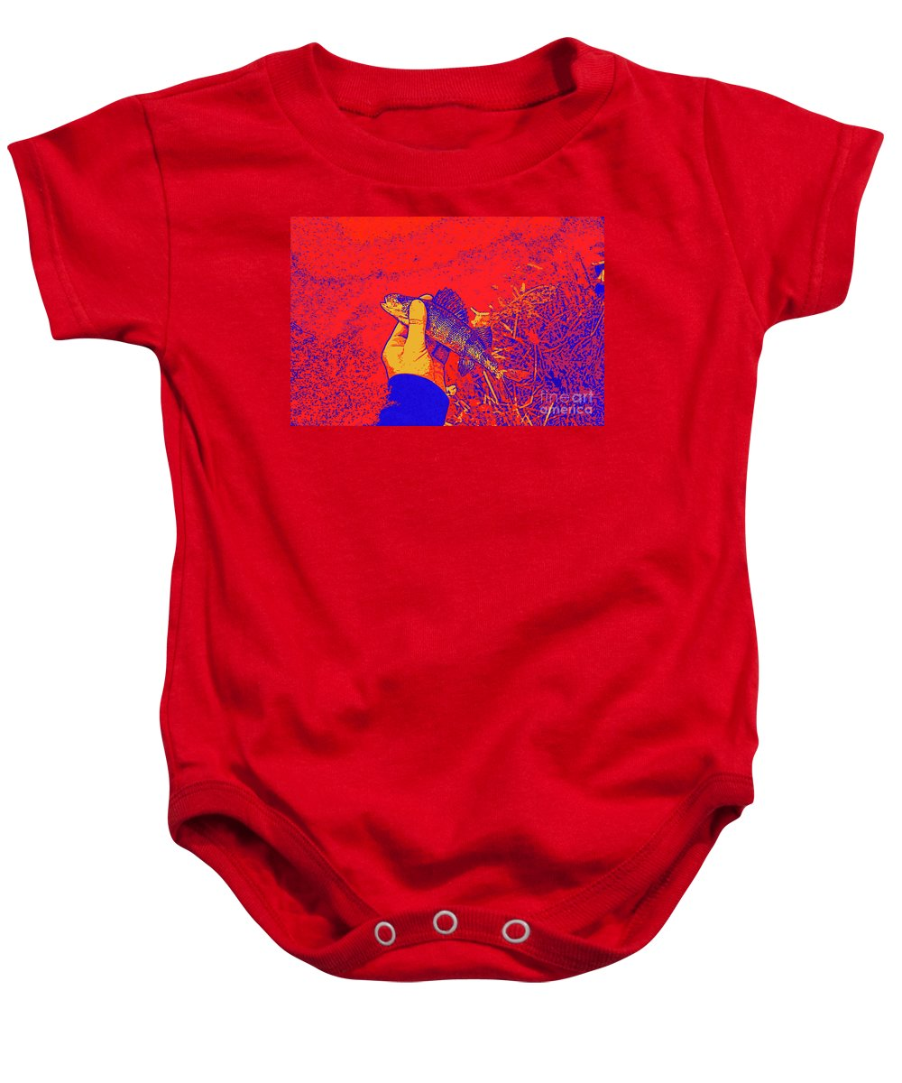 Perch Red Yellow Blue Baby Onesie featuring the digital art Perch Red Yellow Blue by Chris Taggart