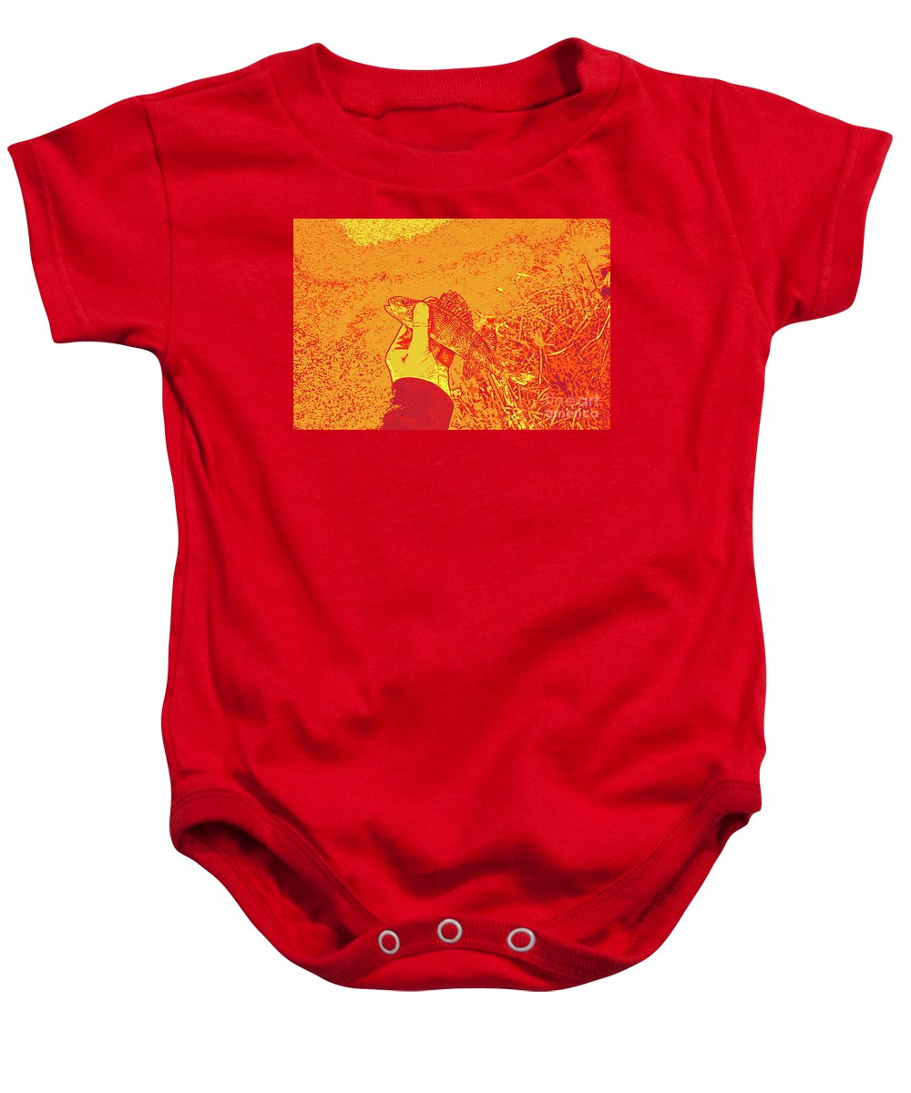 Perch Red Yellow Baby Onesie featuring the digital art Perch Red Yellow by Chris Taggart