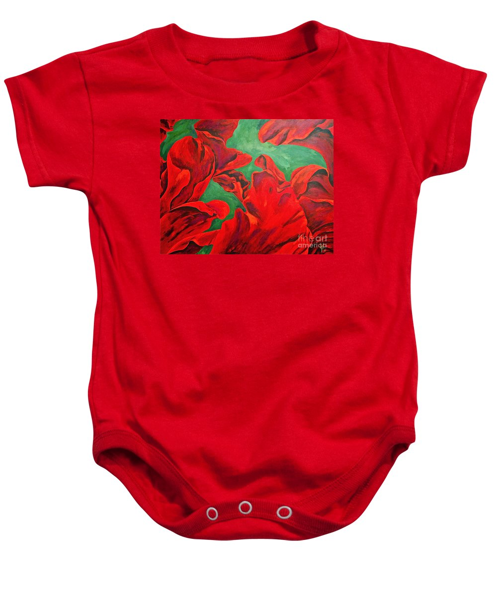 Abstracts / Rose Petals Baby Onesie featuring the painting Petals Of Fire by Herschel Fall