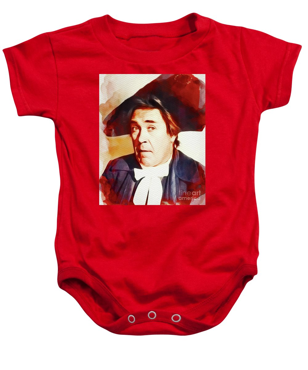 Peter Baby Onesie featuring the painting Peter Butterworth, Carry On Films Cast by John Springfield