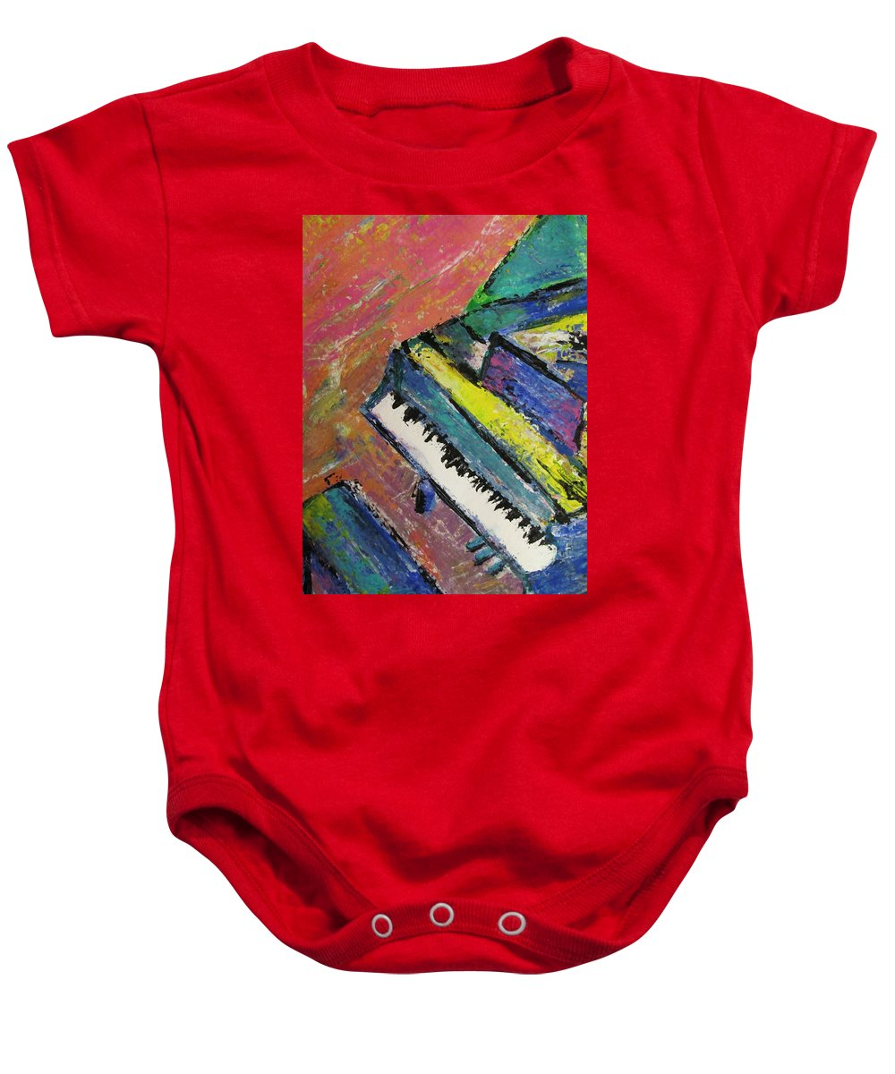 Music Baby Onesie featuring the painting Piano With Yellow by Anita Burgermeister