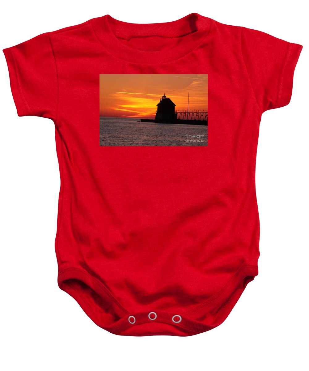 Water Baby Onesie featuring the photograph Pier Fire- Btbutler by Robert Pearson