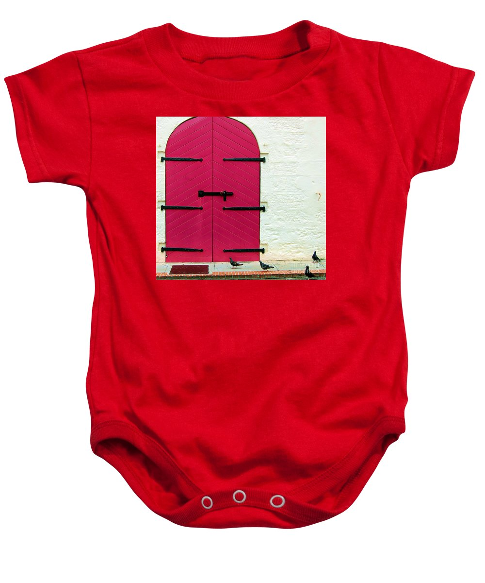 Birds Baby Onesie featuring the photograph Pigeon Pink by Debbi Granruth