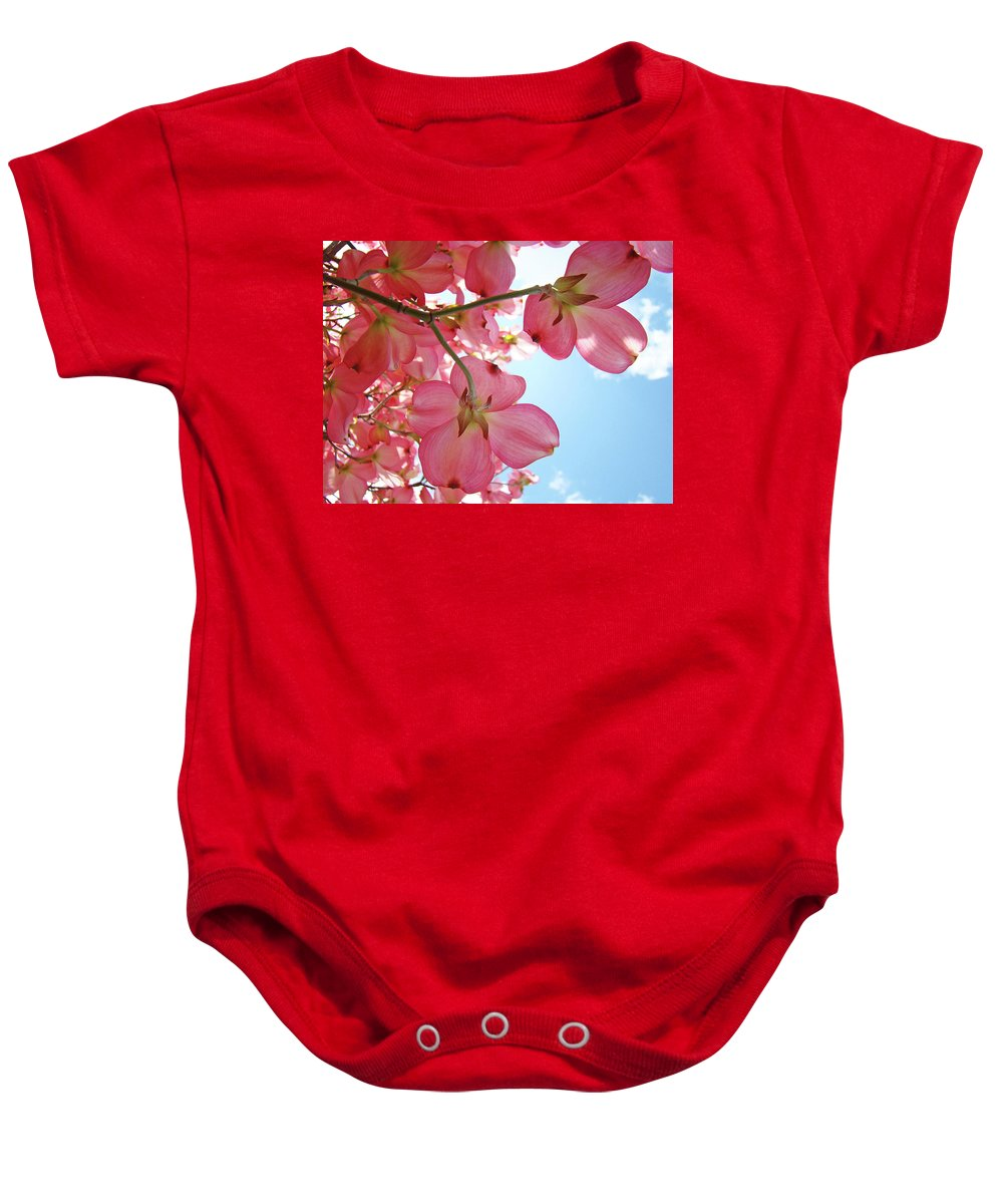 Dogwood Baby Onesie featuring the photograph Pink Flowering Dogwood Tree Art Prints Blue Sky Baslee Troutman by Baslee Troutman