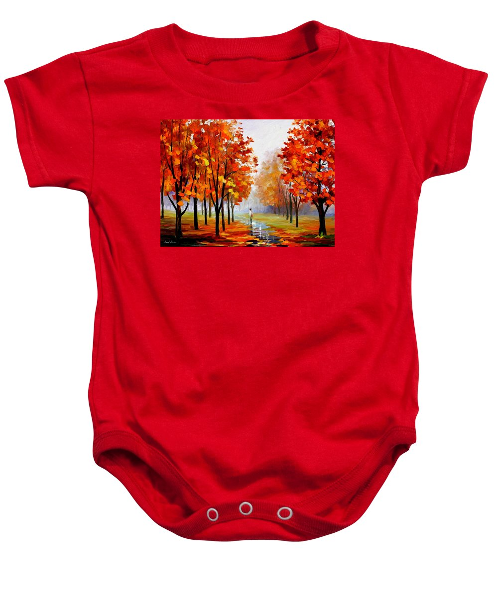 Afremov Baby Onesie featuring the painting Pink Fog by Leonid Afremov