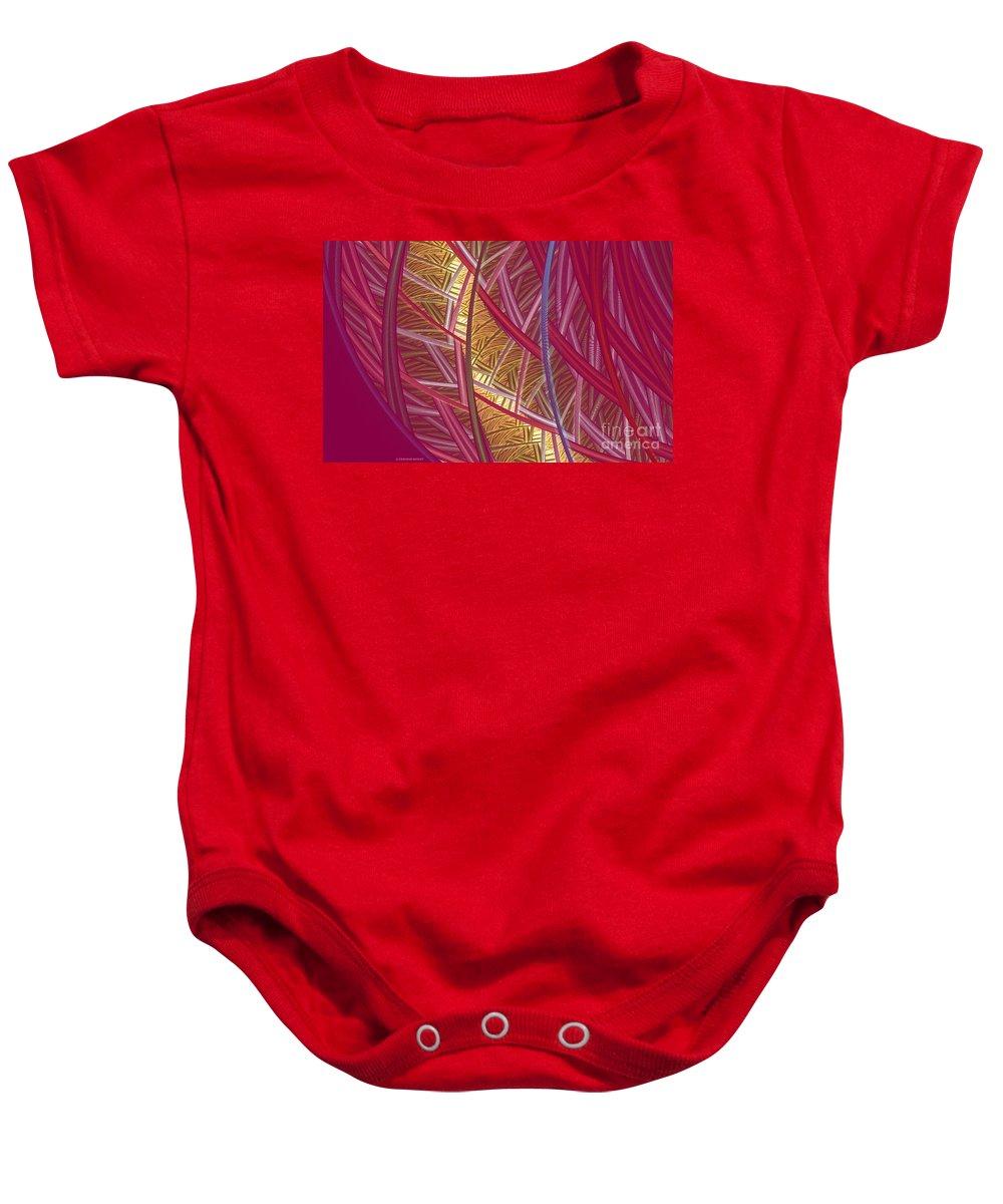 Fractal Baby Onesie featuring the mixed media Pink Lines by Deborah Benoit
