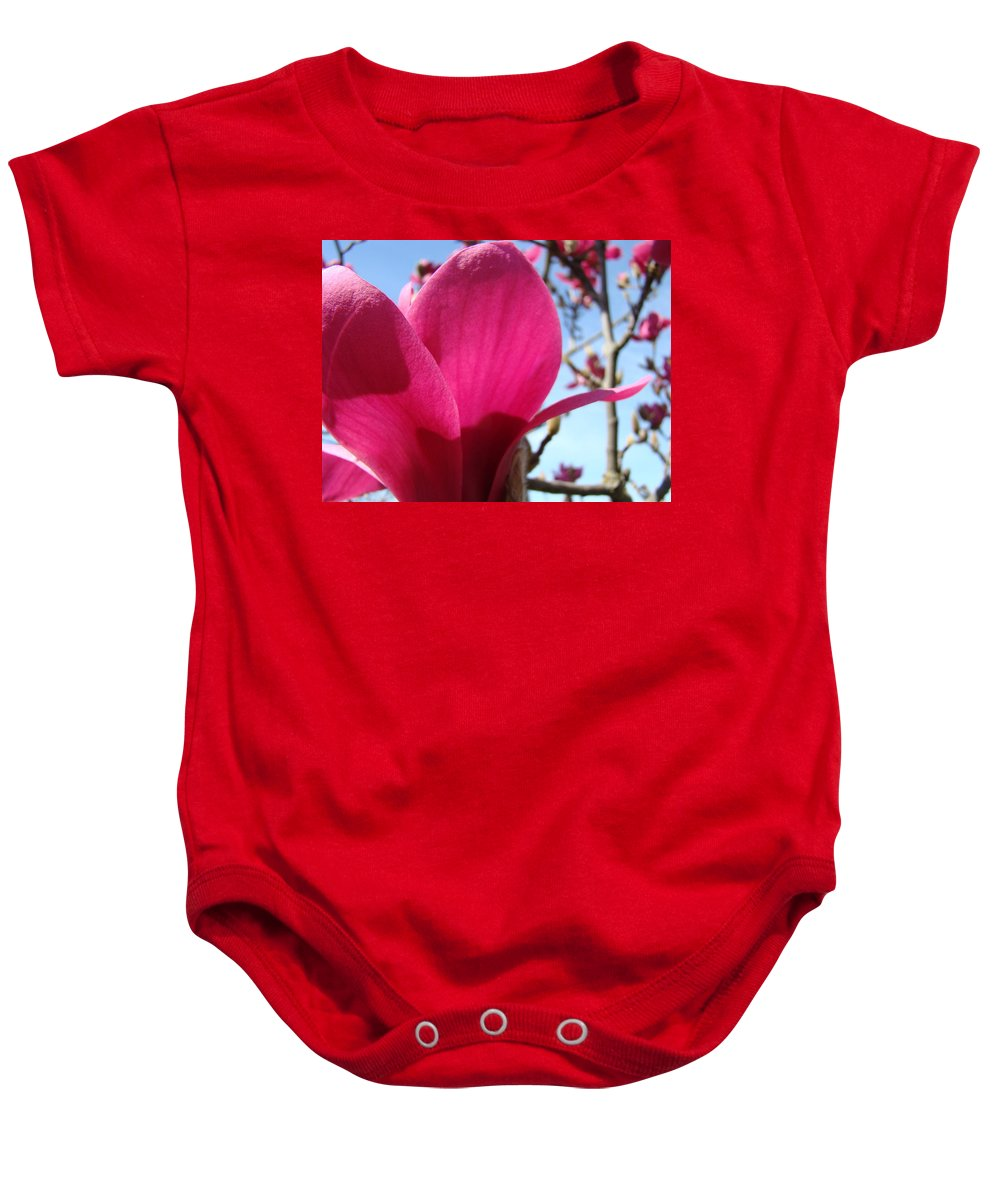 Magnolia Baby Onesie featuring the photograph Pink Magnolia Flowers Magnolia Tree Spring Art by Baslee Troutman
