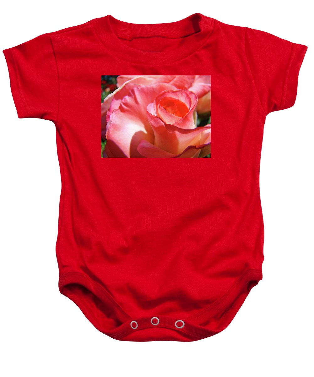 Rose Baby Onesie featuring the photograph Pink Rose Art Prints Floral Summer Rose Flower Baslee Troutman by Baslee Troutman