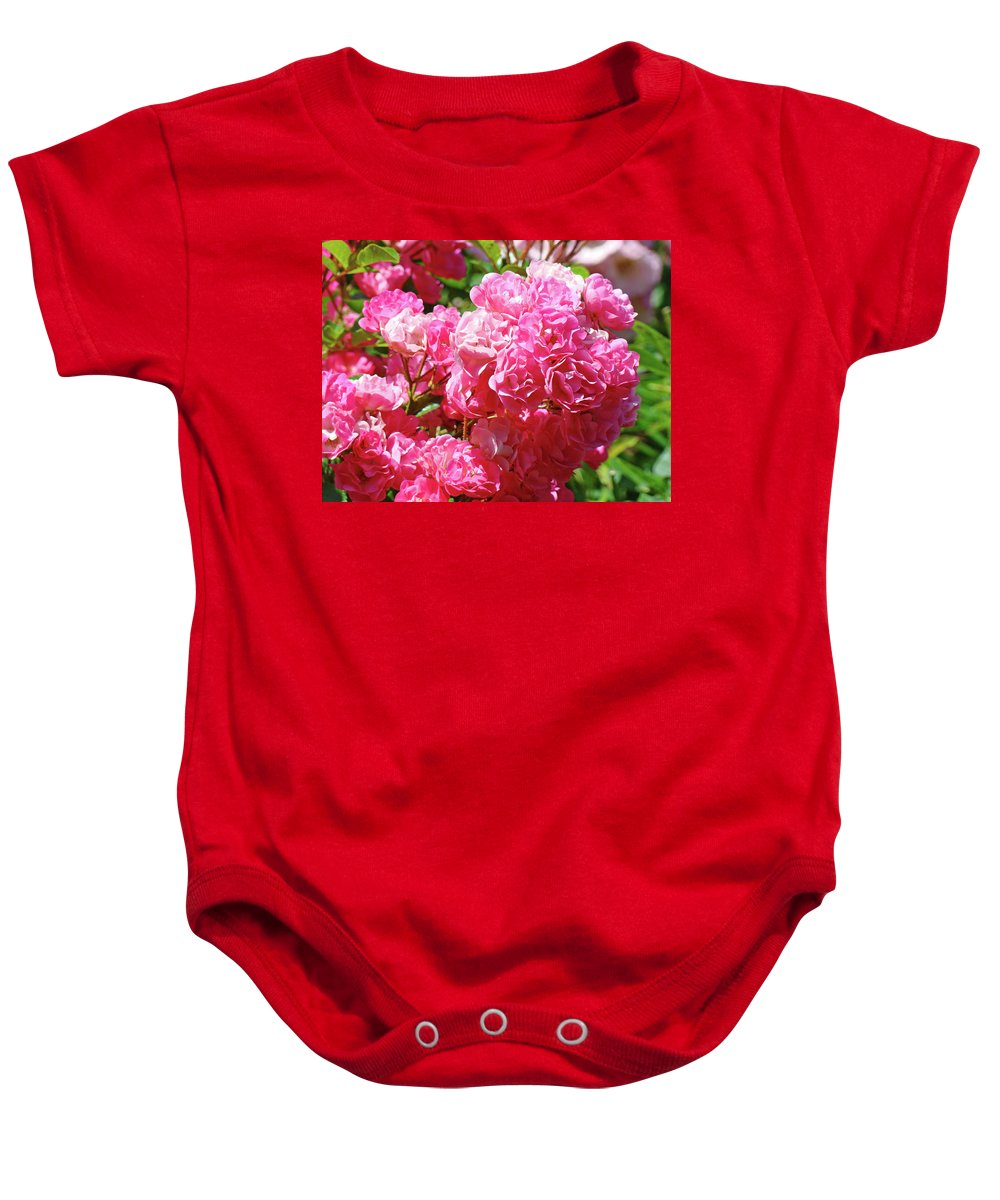 Rose Baby Onesie featuring the photograph Pink Roses Summer Rose Garden Roses Giclee Art Prints Baslee Troutman by Baslee Troutman
