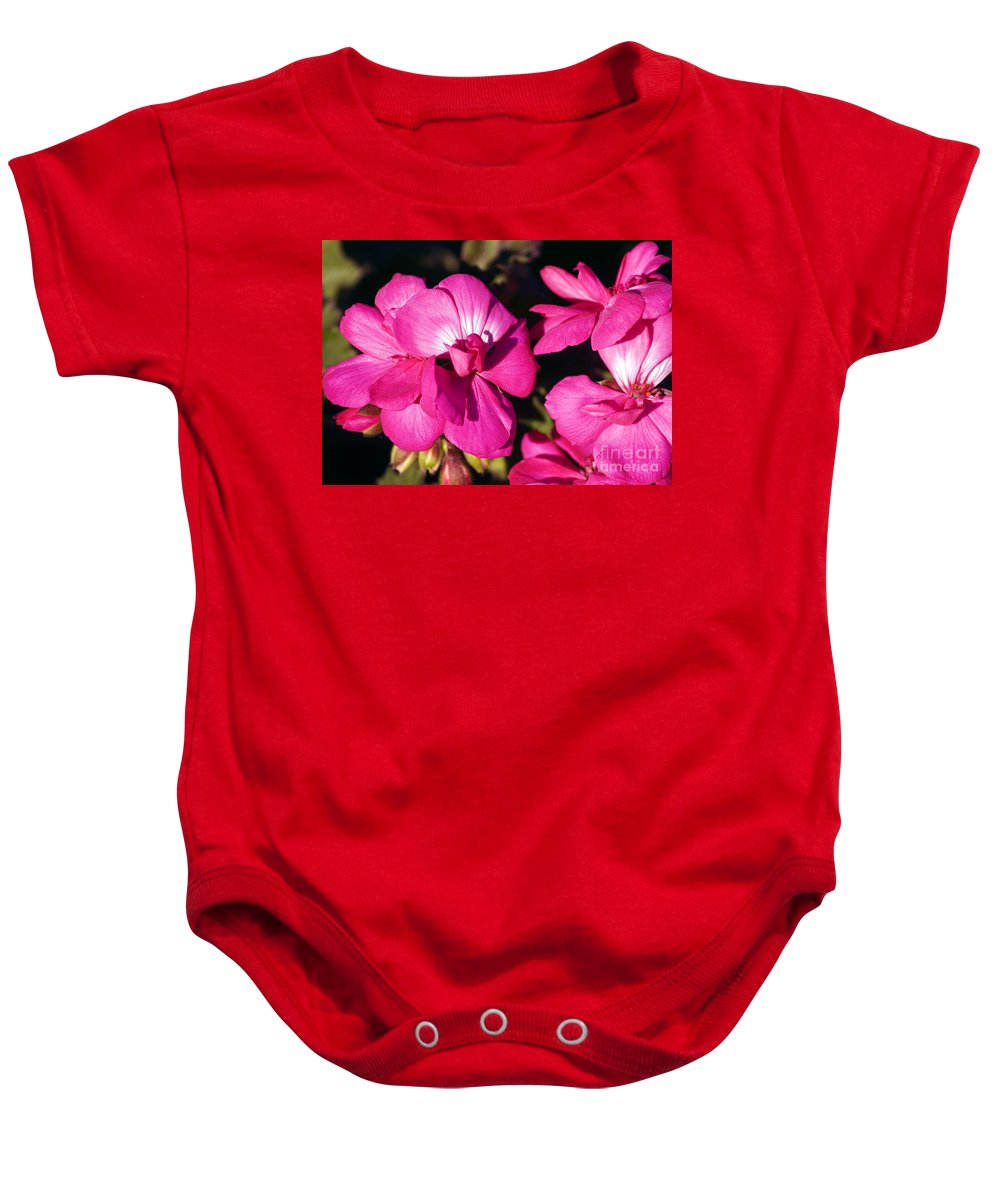 Clay Baby Onesie featuring the photograph Pink Spring Florals by Clayton Bruster