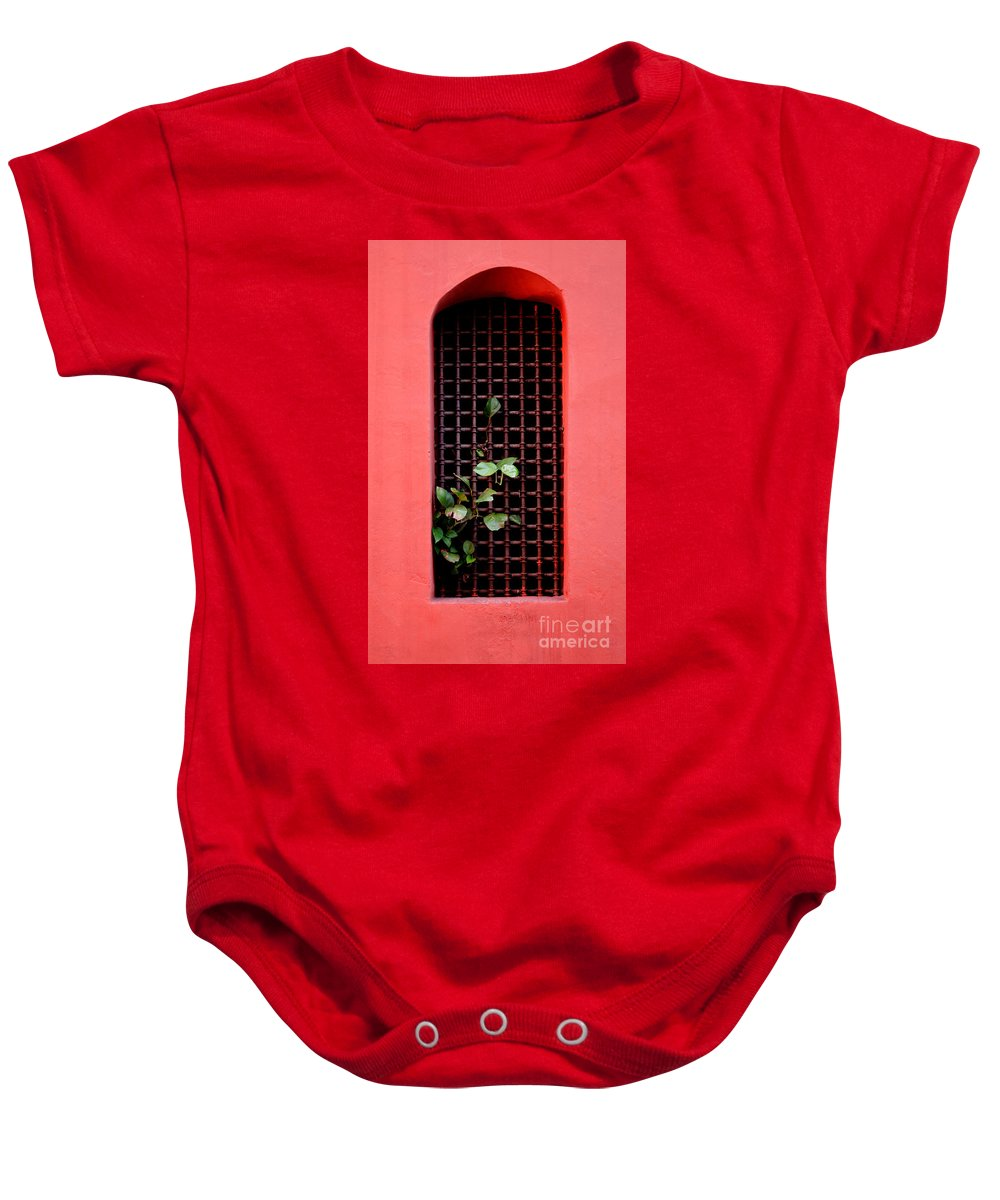 Windo Baby Onesie featuring the photograph Pink Window In Cartegena by Thomas Marchessault