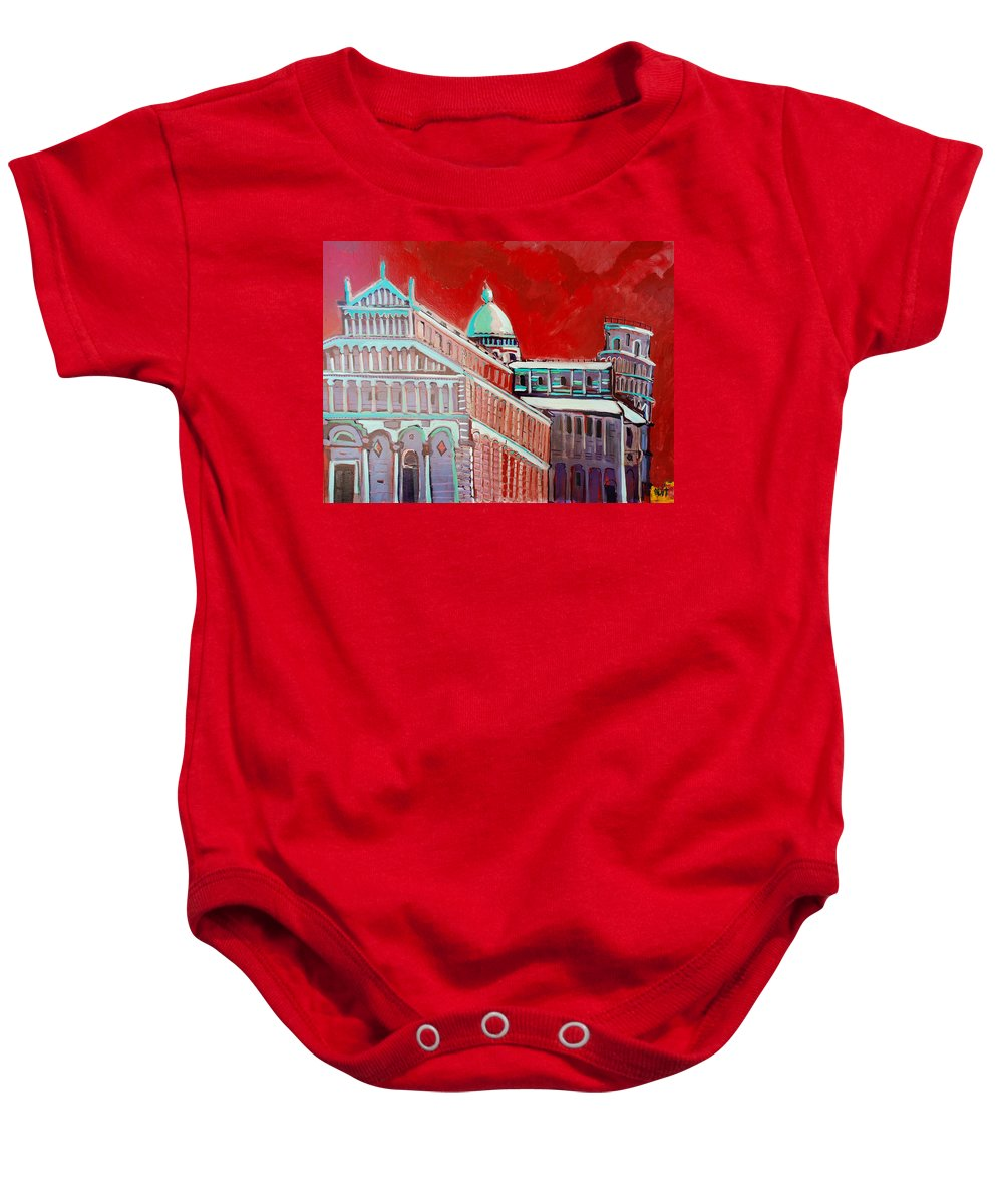 Pisa Baby Onesie featuring the painting Pisa by Kurt Hausmann