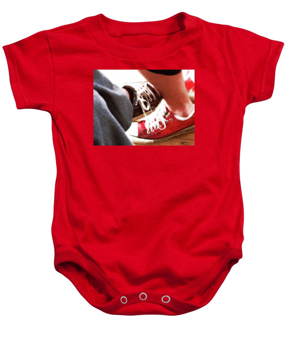 Love Baby Onesie featuring the photograph Playing Footsie by Angela Wright