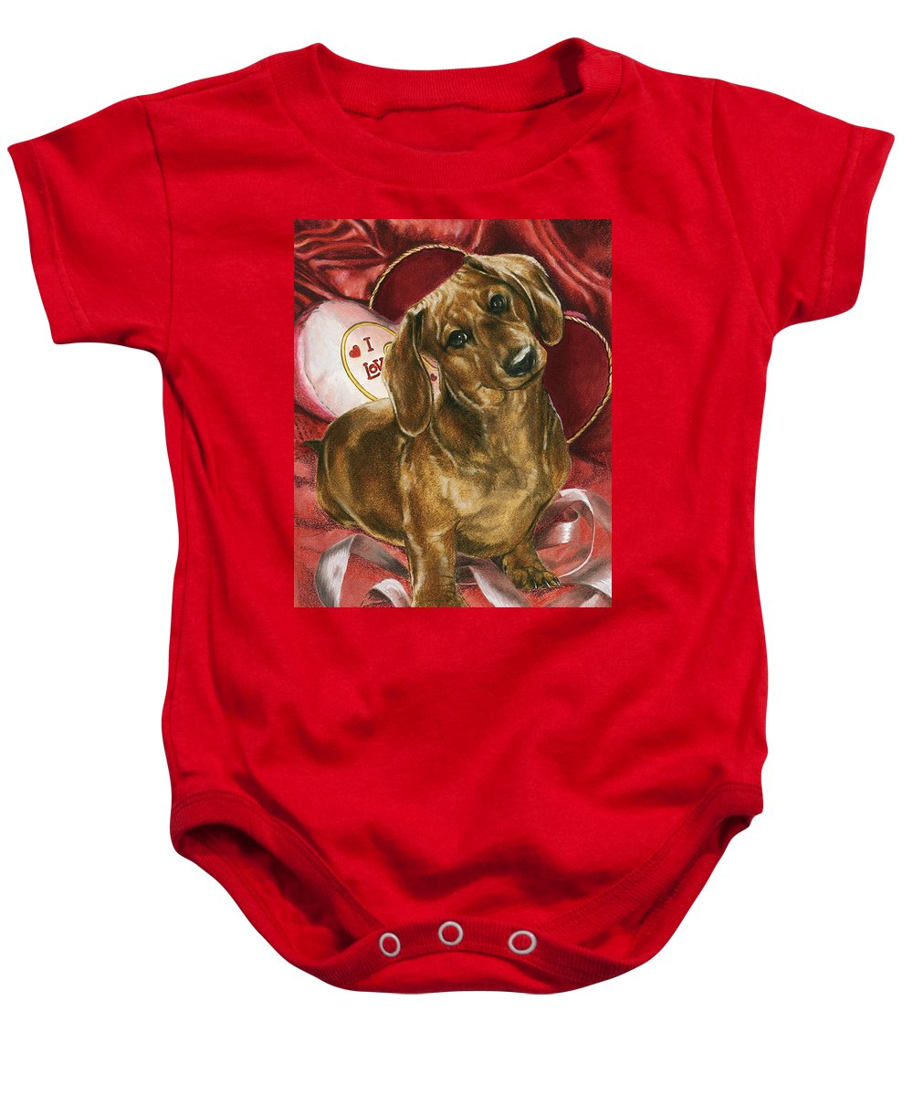 Dogs Baby Onesie featuring the mixed media Please Be Mine by Barbara Keith