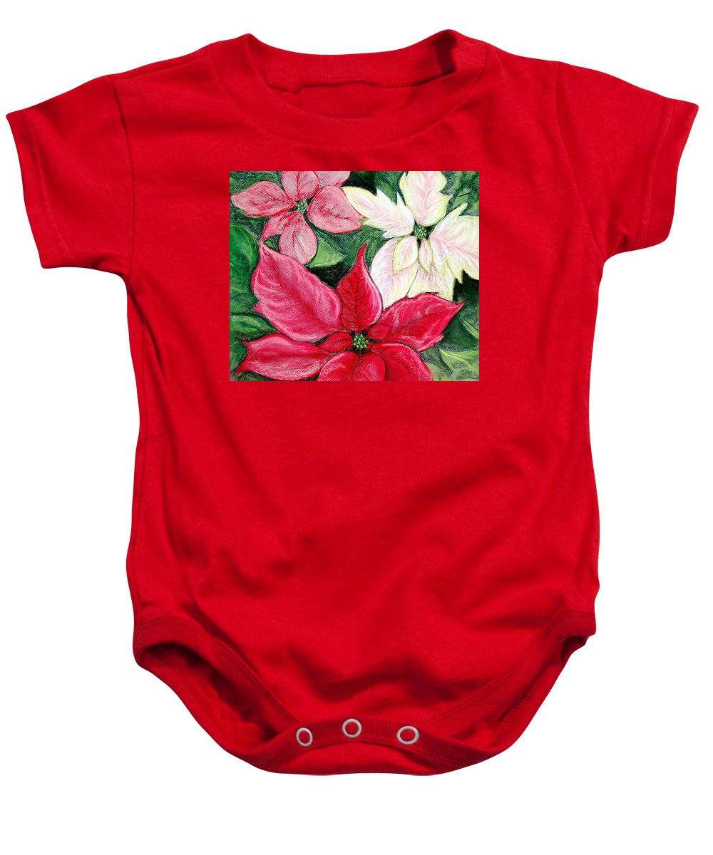 Poinsettia Baby Onesie featuring the pastel Poinsettia Pastel by Nancy Mueller
