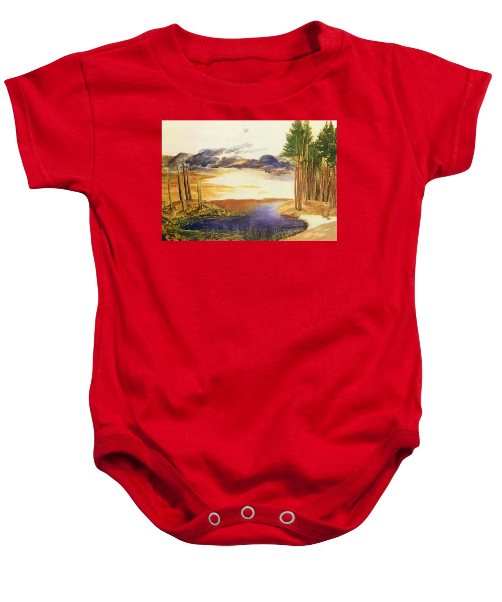 Pond Baby Onesie featuring the painting Pond In The Wood by Durer Albrecht