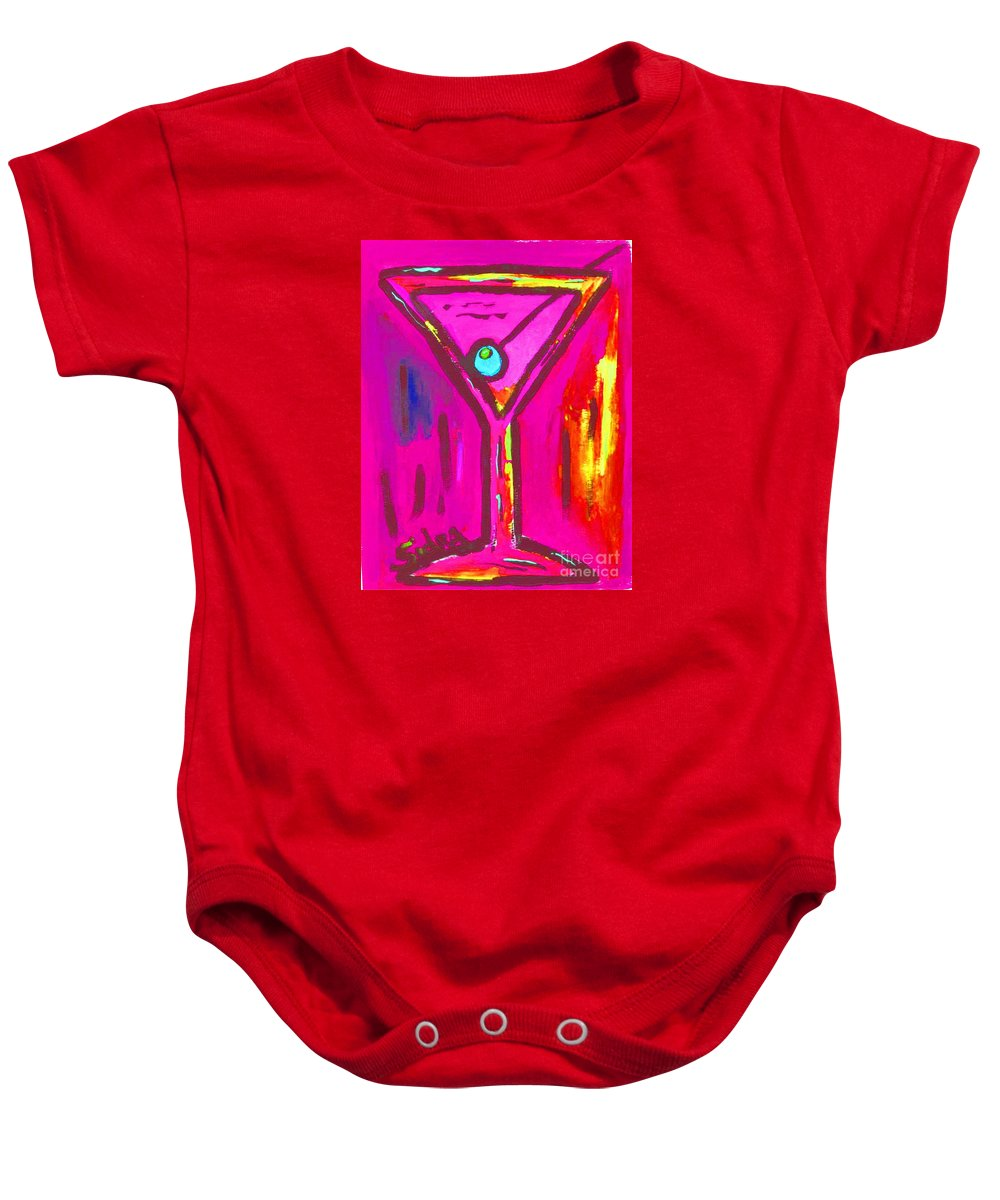 Martini Baby Onesie featuring the painting Pop Art Martini Pink Neon Series 1989 by Sidra Myers