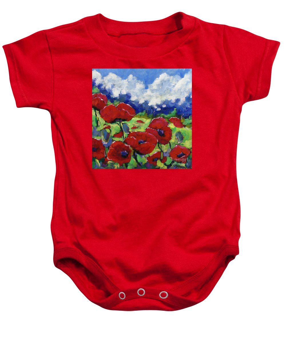 Art Baby Onesie featuring the painting Poppies 003 by Richard T Pranke