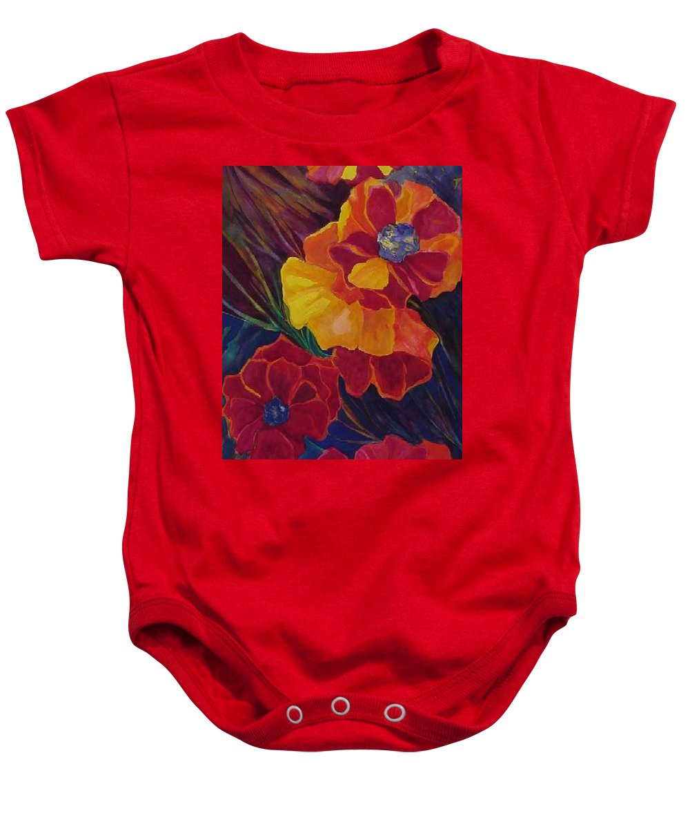 Flowers Baby Onesie featuring the painting Poppies by Carolyn LeGrand