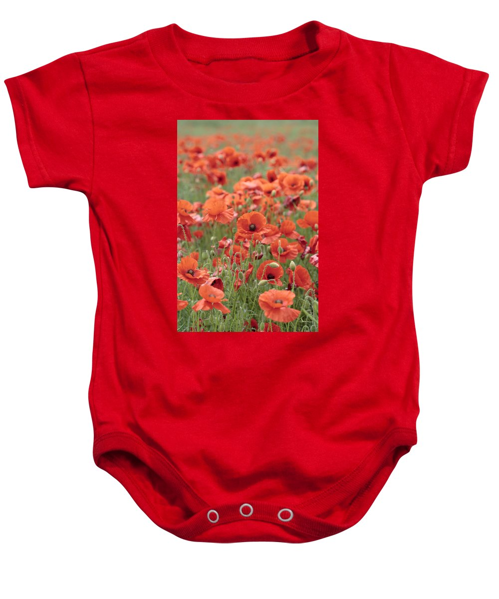 Poppy Baby Onesie featuring the photograph Poppies by Phil Crean