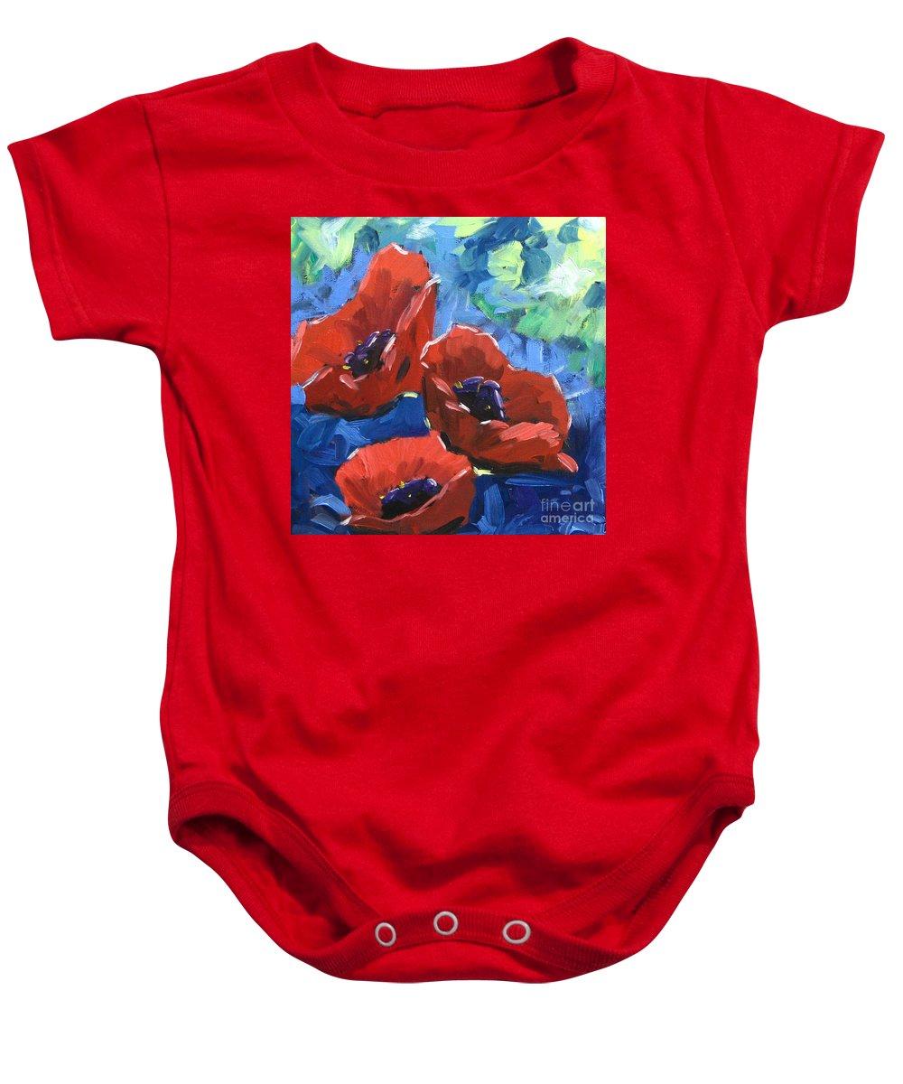 Art Baby Onesie featuring the painting Poppies Splender by Richard T Pranke