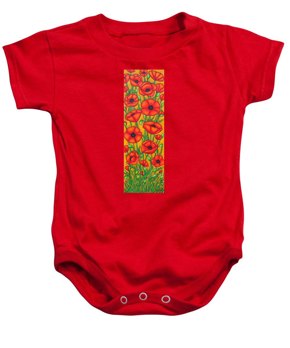 Poppies Baby Onesie featuring the painting Poppies Under The Tuscan Sun by Lisa Lorenz