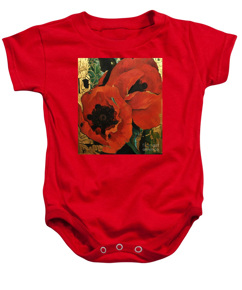 Lin Petershagen Baby Onesie featuring the painting Poppygold by Lin Petershagen