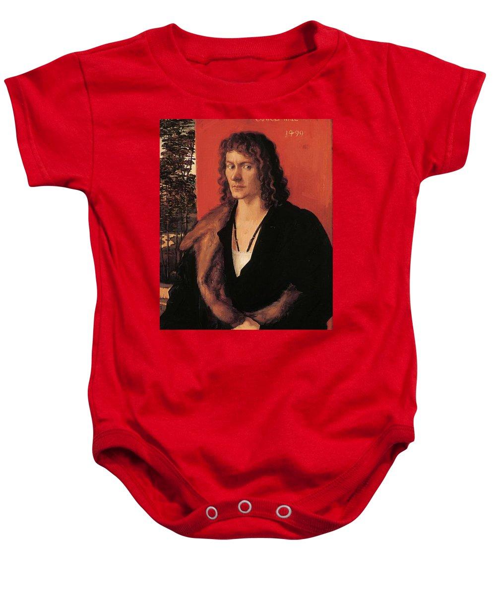 Portrait Baby Onesie featuring the painting Portrait Of Oswolt Krel 1499 by Durer Albrecht
