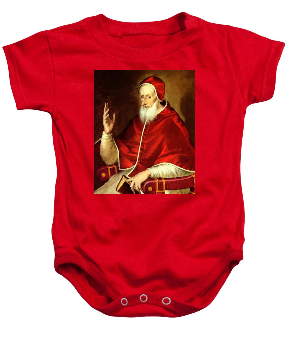 Portrait Baby Onesie featuring the painting Portrait Of Pope Pius by El Greco