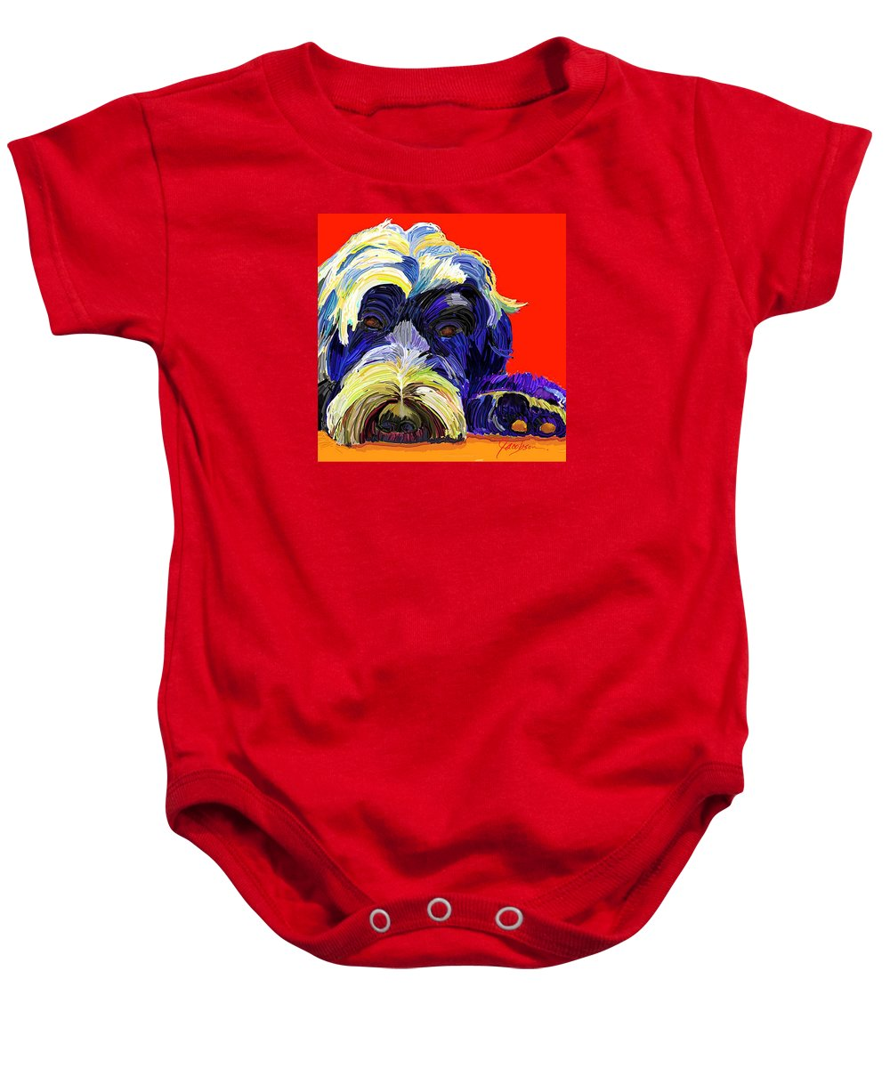 Portugese Water Dog Baby Onesie featuring the painting Portugese Water Dog 1 by Jackie Jacobson